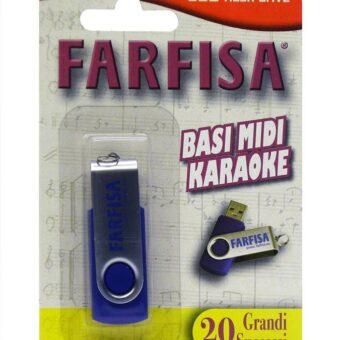 Farfisa FM-20 USB flash memory stick met 20 karaoke hits in .KAR bestandsindeling