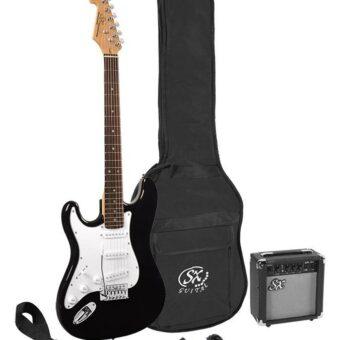 SX SE1SK-LHBK linkshandig elektrisch gitaarpakket